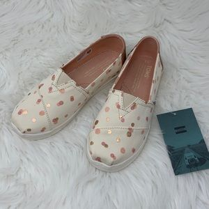 Toms Classic Pale Blush Party Dots Flats Youth 3